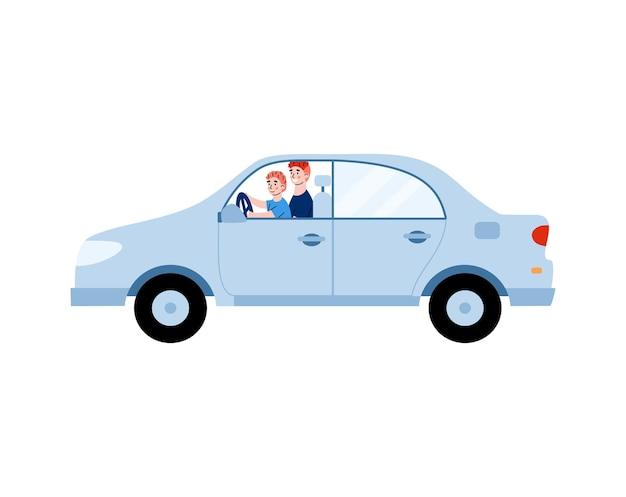 Samochód z ojcem uczy swoje dziecko chłopca jeździć kreskówką