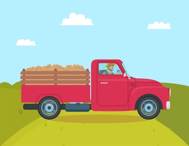 Samochód z przyczepą do transportu ilustracji