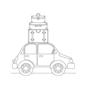 Samochód z ustawionym zestawem walizek