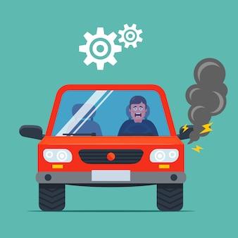 Samochód zepsuł się i pali. zdenerwowany kierowca. płaska ilustracja.