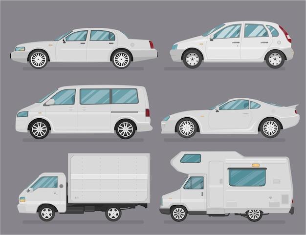 Samochód . zestaw samochodów. płaski styl. widok z boku, profil. rodzaje samochodów