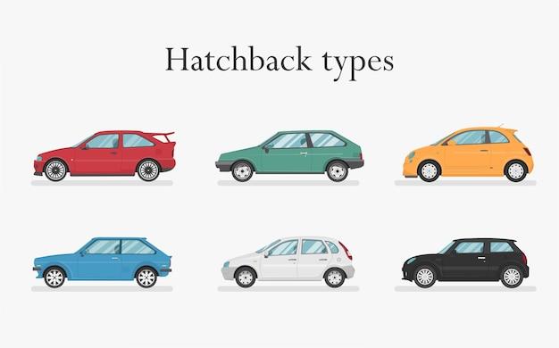 Samochód . zestaw samochodów. płaski styl. widok z boku, profil. typy hatchbacków
