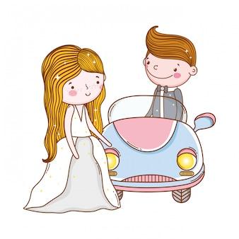 Samochodowa para małżeństwa śliczna kreskówka