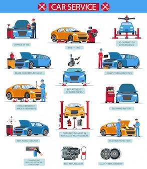 Samochodowa usługa zmiany oleju opony dopasowania wektoru mieszkanie.