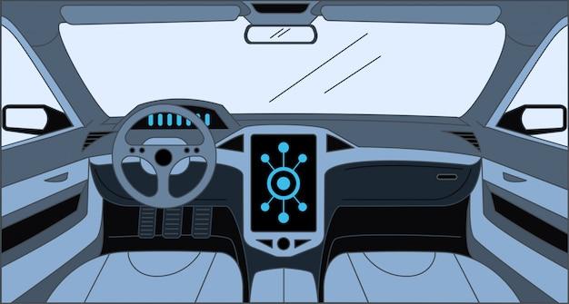 Samochodowa wewnętrzna kreskówka konturu ilustracja. wnętrze samochodu, design wewnątrz koncepcji samochodu.