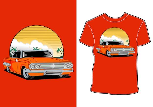 Samochodowego lato zmierzchu plaży morza natury linii sztuki koszulki graficzny ilustracyjny projekt