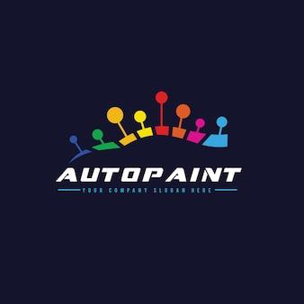 Samochodowy samochód malarski i szablon logo samochodowego.