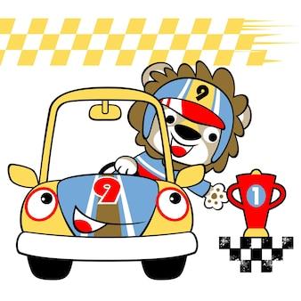 Samochodowy setkarz z trofeum, kreskówka wektor