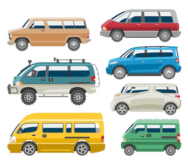 Samochodu dostawczego pojazdu pojazdu pojazdu furgonetki minibusa rodzinny pojazd i samochodu citycar ustawiający na białej tło ilustraci