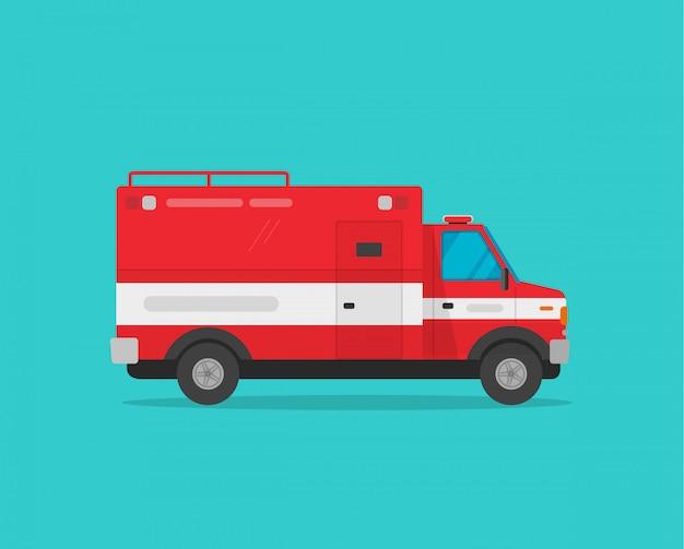 Samochodu strażackiego lub wóz strażacki pojazdu awaryjnego wektorowej ilustracyjnej płaskiej kreskówki boczny widok