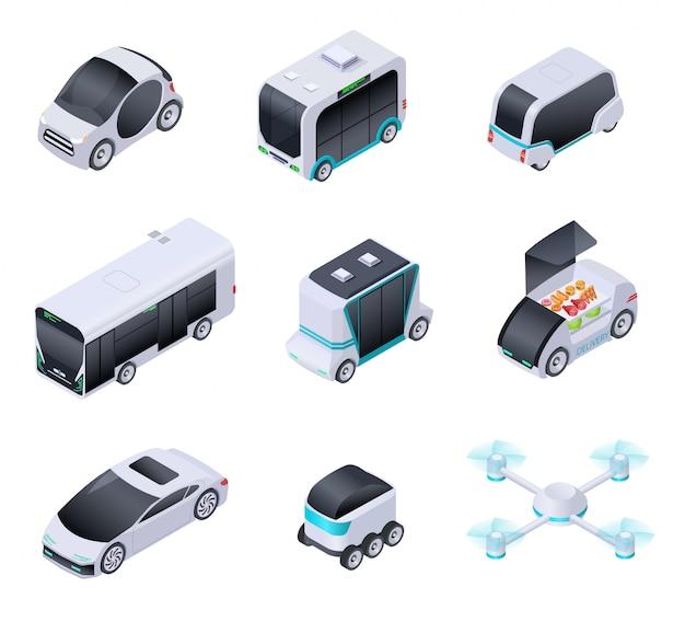 Samochody bez kierowcy. przyszłe inteligentne pojazdy. bezzałogowy transport miejski, autonomiczna ciężarówka i dron. izometryczne wektor na białym tle ikony