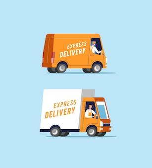 Samochody dostawcze z mężczyznami przewożącymi paczki. ilustracja.