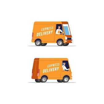 Samochody dostawcze z mężczyznami przewożącymi paczki.