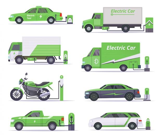 Samochody ekologiczne. oszczędzaj pogodę pojazdy elektryczne wektor zielony kolekcja