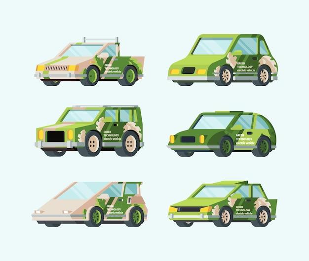 Samochody elektryczne przyszłości zestawu. stylowy zielony design ekologiczny transport nowoczesny futurystyczny samochód rama bezpieczna energia alternatywna odnawialne źródła energii troska o środowisko.