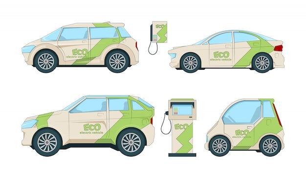 Samochody elektryczne. różne samochody ekologiczne z kreskówek izolują się