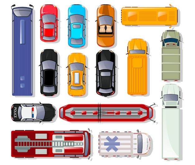 Samochody i ciężarówki widok z góry na białym tle zestaw.