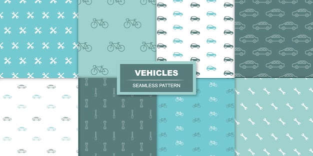 Samochody i rowery bezszwowe przezroczysty wzór