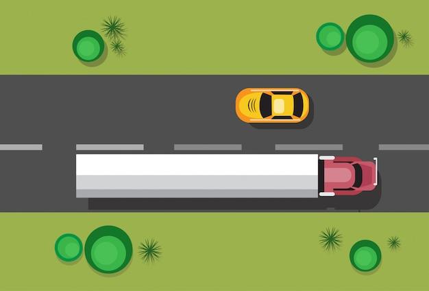 Samochody na koncepcji ruchu drogowego widok górny kąt