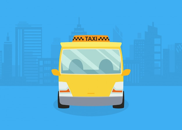 Samochody na panoramę miasta. taksówka. żółta taksówka.