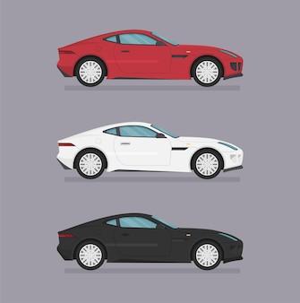 Samochody. płaski styl. widok z boku, profil.