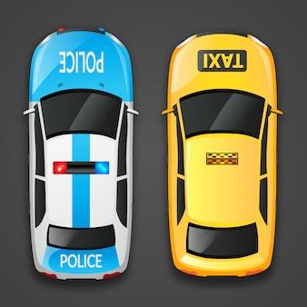 Samochody policyjne i taksówkowe