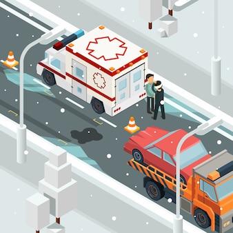 Samochody powypadkowe. zimowe ostrzeżenie na drodze poślizgu wraku samochodu krajobraz izometryczny