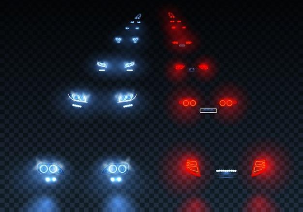 Samochody rozbłyskują światła drogowe ustawione za pomocą świateł mijania z odbiciami na przezroczystej ilustracji