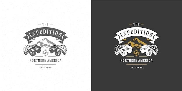 Samochody terenowe logo godło ilustracji wektorowych na zewnątrz ekstremalna przygoda wyprawa safari suv