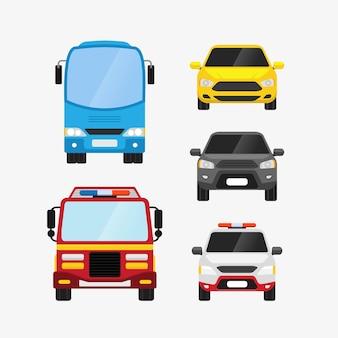 Samochody ustawiają widok z przodu transportu osobistego i ilustracji transportu publicznego