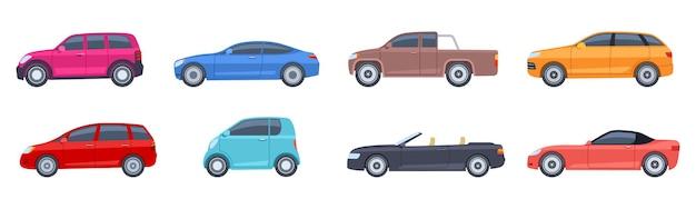Samochody ustawione w stylu płaskiej