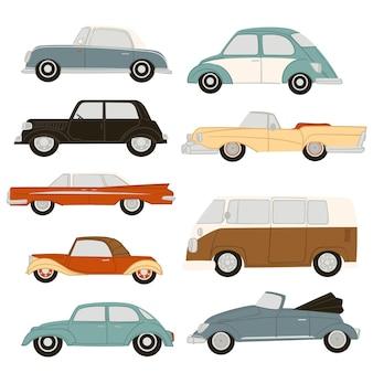 Samochody vintage i retro, izolują samochody różnych modeli i lat. pojazdy do przewozu osób. mobilna maszyna do podróży i wycieczek. samochód dostawczy i eko. wektor w stylu płaskiej ilustracji