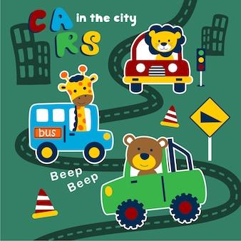 Samochody w mieście śmieszne kreskówki zwierząt