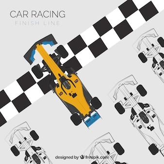 Samochody wyścigowe formuły 1 na mecie z widokiem z góry