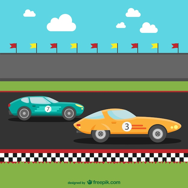 Samochody wyścigowe kreskówki