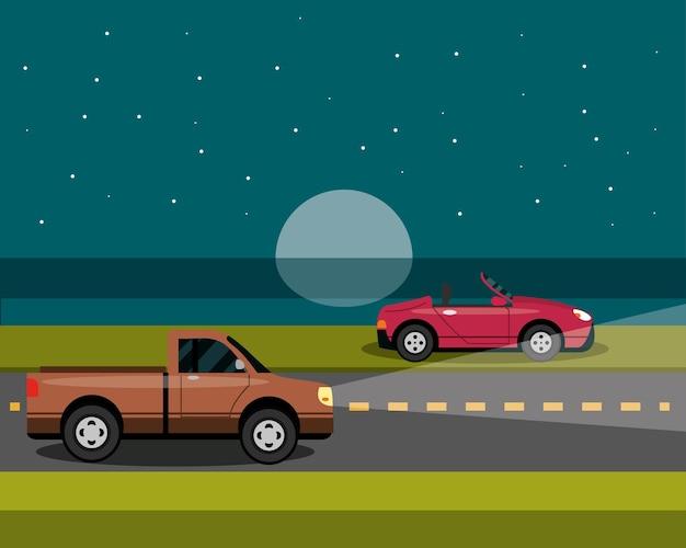 Samochody zaparkowane i jeżdżące w nocy w stylu cartoon, ilustracja transportu miejskiego