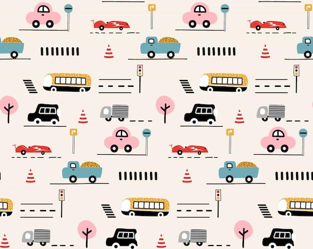 Samochody, znak drogowy, wzór przejścia dla pieszych