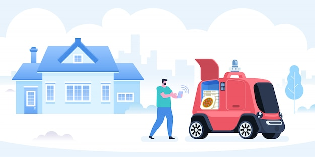 Samodzielny Pojazd Do Dostarczania Pizzy Premium Wektorów