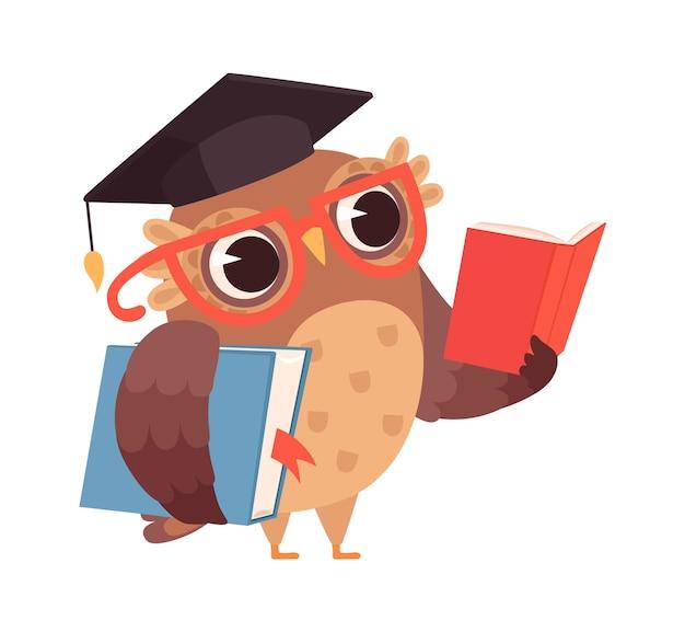 Samokształcenie. sowa czytanie książek, na białym tle inteligentny charakter. kreskówka ptak w okularach studia ilustracji wektorowych. sowa zdobywa edukację, naukę i czytanie