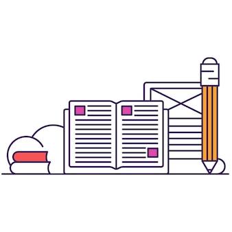 Samokształcenie, uczenie się, rozwój umiejętności zawodowych zarys wektor ikona płaski. stos książek, otwarty notatnik z ołówkiem. koncepcja badań wiedzy i literatury