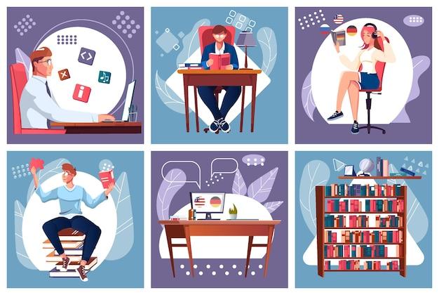 Samokształcenie zestaw kwadratowych kompozycji z etui na książki piktogramów płaskich ikon i doodle ilustracji ludzkich postaci