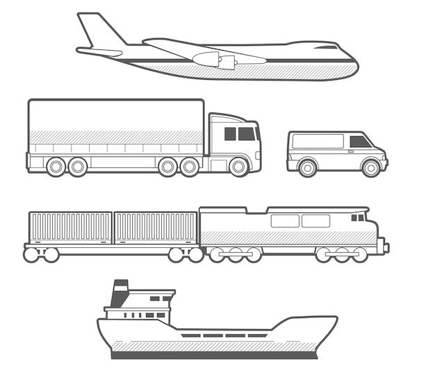 Samolot, ciężarówka, samochód, statek, pociąg.