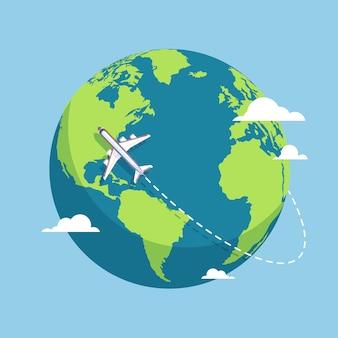 Samolot i kula ziemska. samoloty lecące wokół ziemi z kontynentami i oceanami. ilustracja wektorowa płaskie