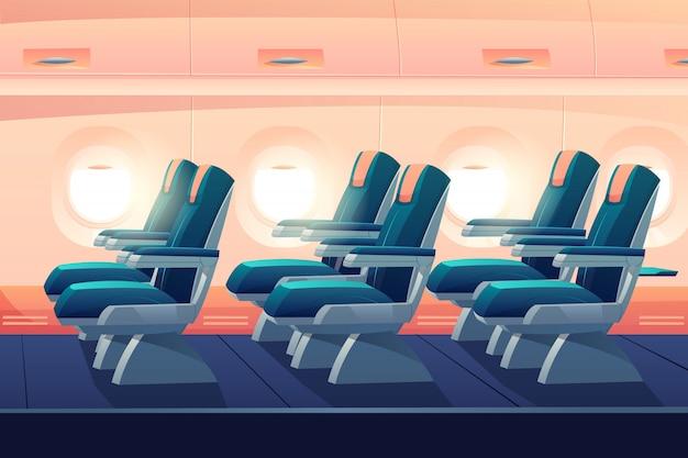 Samolot klasa ekonomiczna z siedzeniami