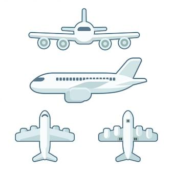 Samolot kreskówka w stylu płaski
