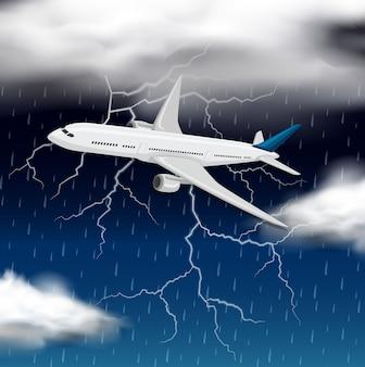 Samolot latający przez burzę