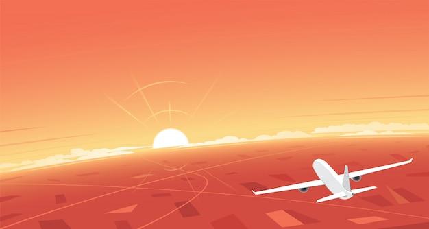 Samolot latający i zachód słońca i transparent tło