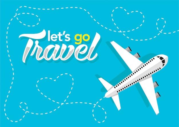 Samolot lecący na niebieskim tle. baner internetowy