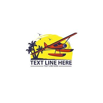 Samolot morski, ilustracja podróży logo