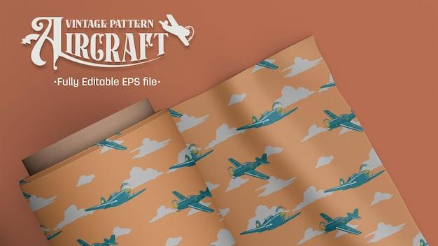 Samolot myśliwski vintage wzór brązowy i tło tosca
